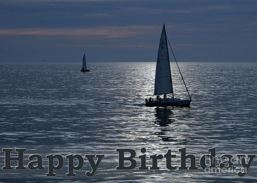 Happy Birthday Navy Sailboats Greeting Card Photograph