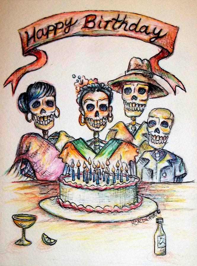 Greeting Cards Painting - Happy Birthday Woman Skull by Heather Calderon