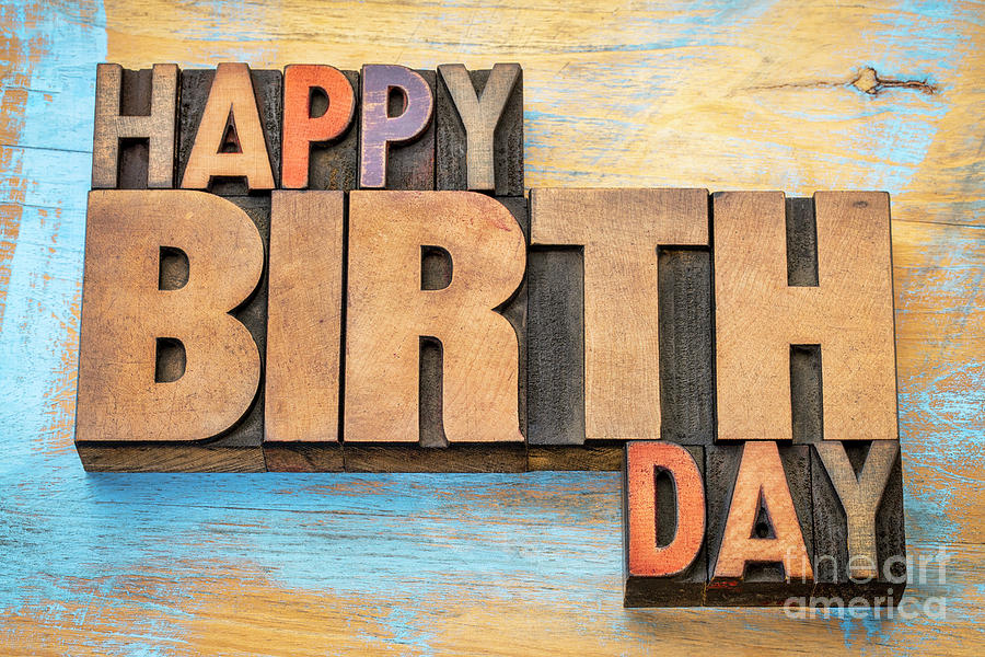Happy Birthday word abstract in wood type  by Marek Uliasz