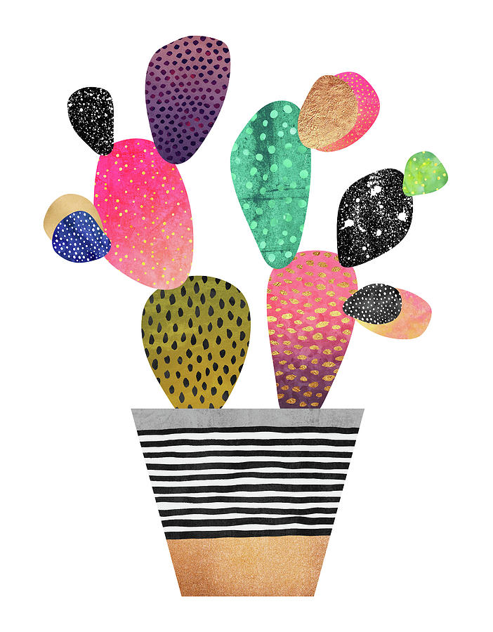 Digital Digital Art - Happy Cactus by Elisabeth Fredriksson