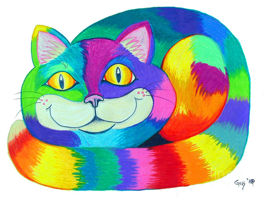 Cat Drawing - Happy Cat by Nick Gustafson
