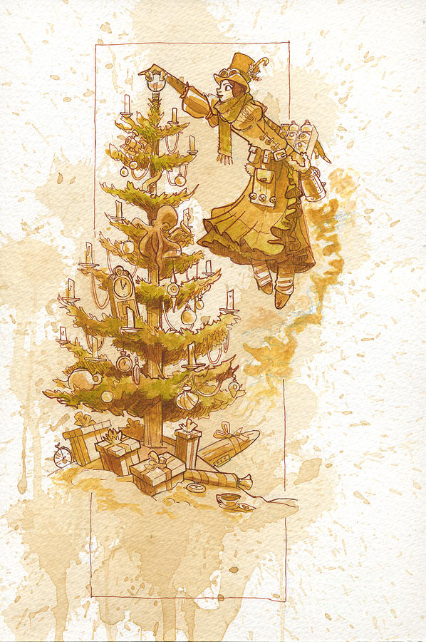 Steampunk Painting - Happy Christmas by Brian Kesinger