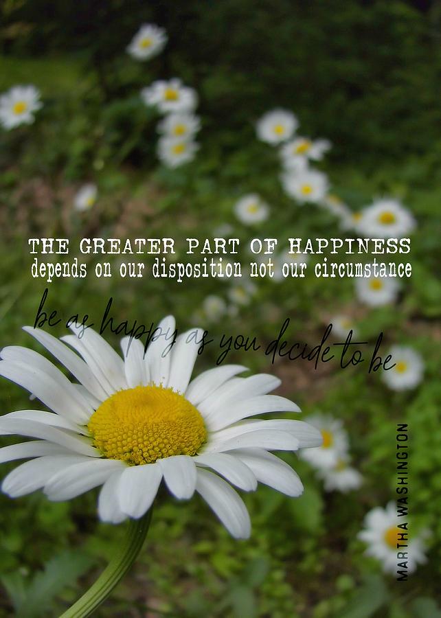 Daisy Photograph - Happy Daisy Quote by JAMART Photography