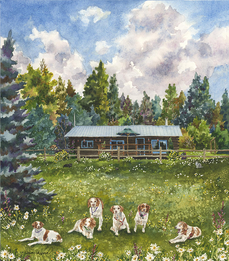 Field Of Flowers Painting Painting - Happy Dogs by Anne Gifford
