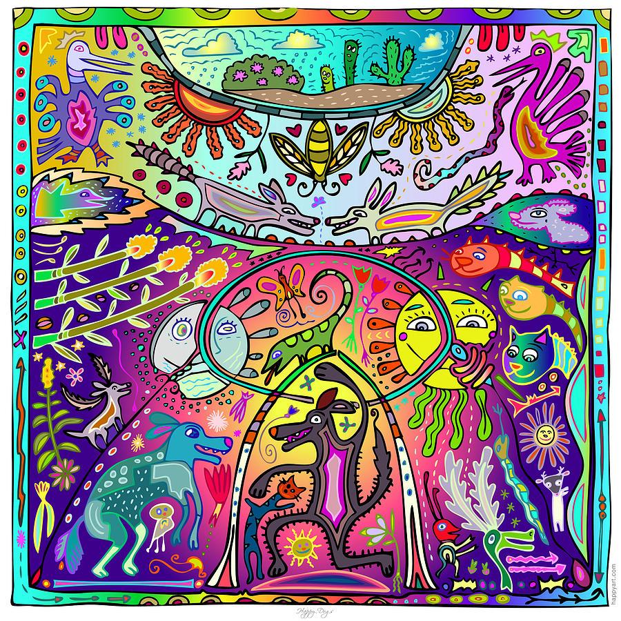 Huichol Digital Art - Happy Dogs by Marti McGinnis