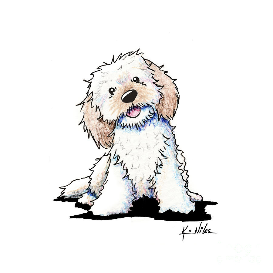 Happy Doodle Puppy Drawing By Kim Niles