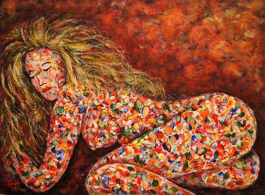 Sleeping Nude Painting - Happy Dream by Natalie Holland