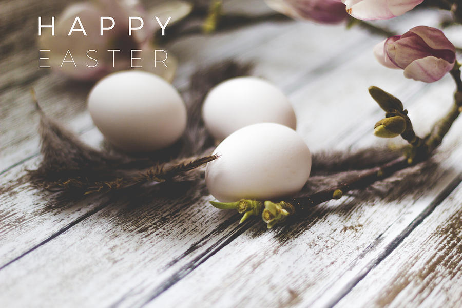 Easter Photograph - Happy Easter Card With Eggs And Magnolia On The Wooden Background by Aldona Pivoriene