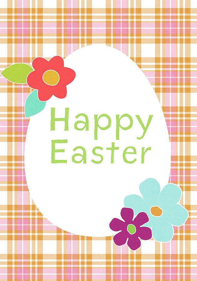 Happy Easter Digital Art - Happy Easter Egg Pink Plaid- Art by Linda Woods by Linda Woods