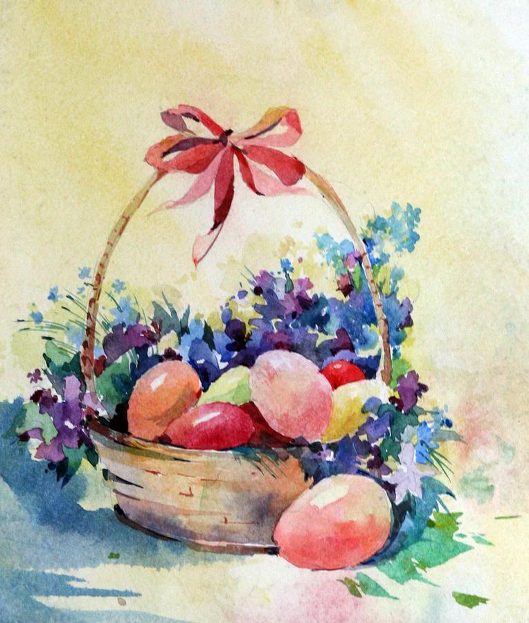 Easter Painting - Happy Easter by Natalia Eremeyeva Duarte