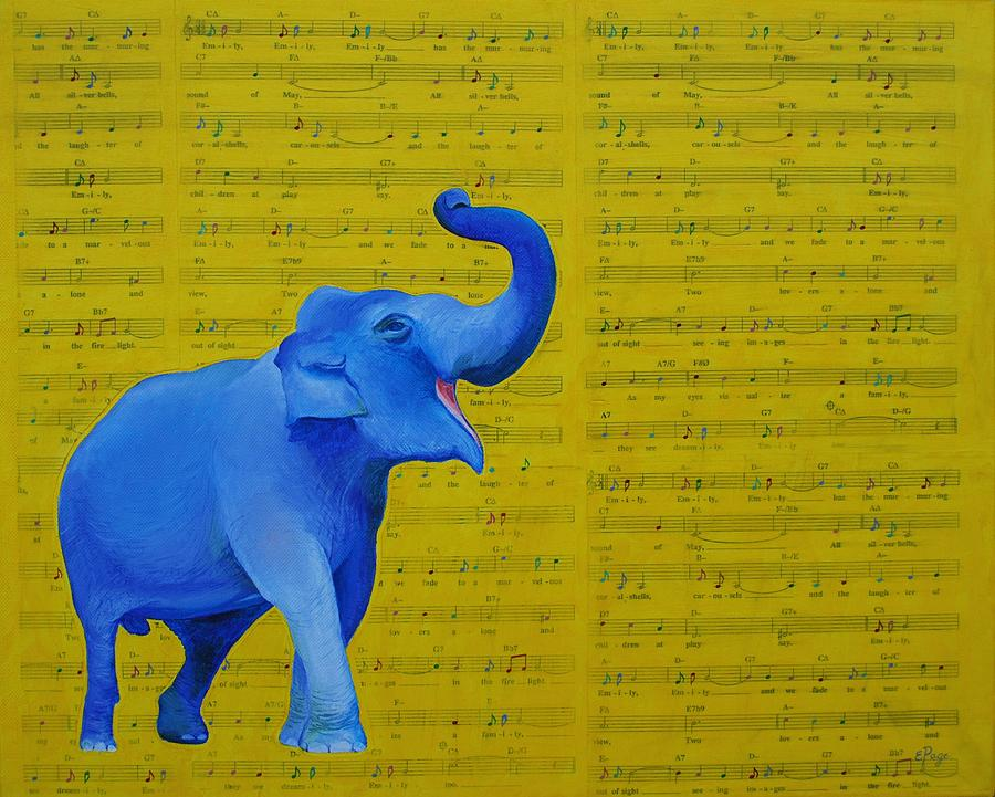 Happy Elephant Singing Emily by Emily Page