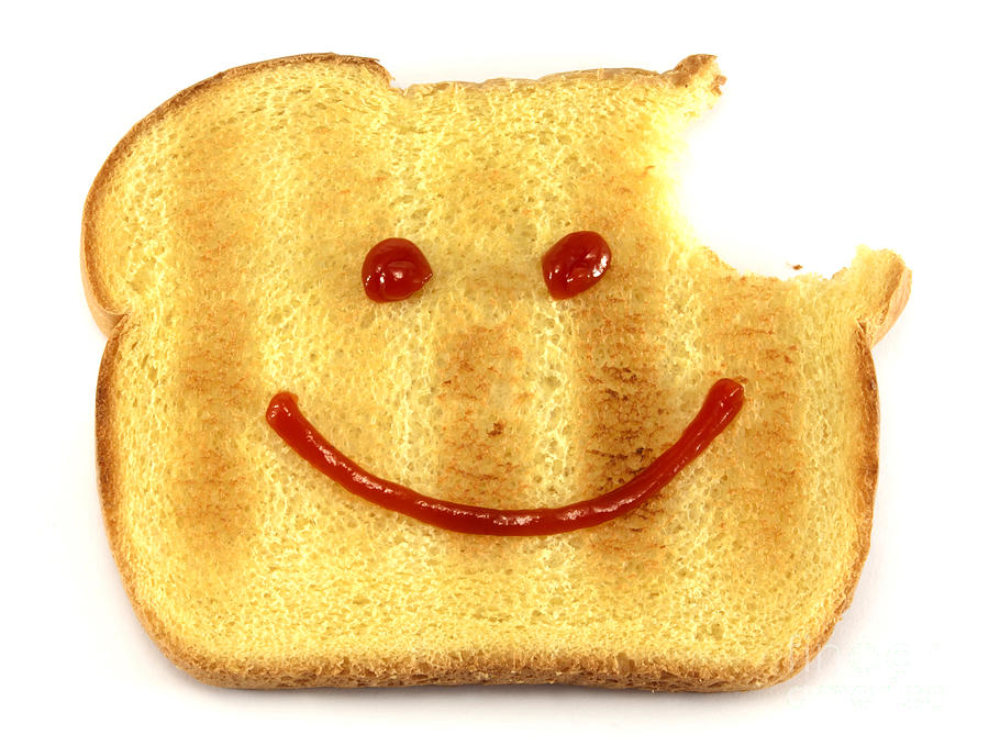 Bread Photograph - Happy Face And Bread by Blink Images
