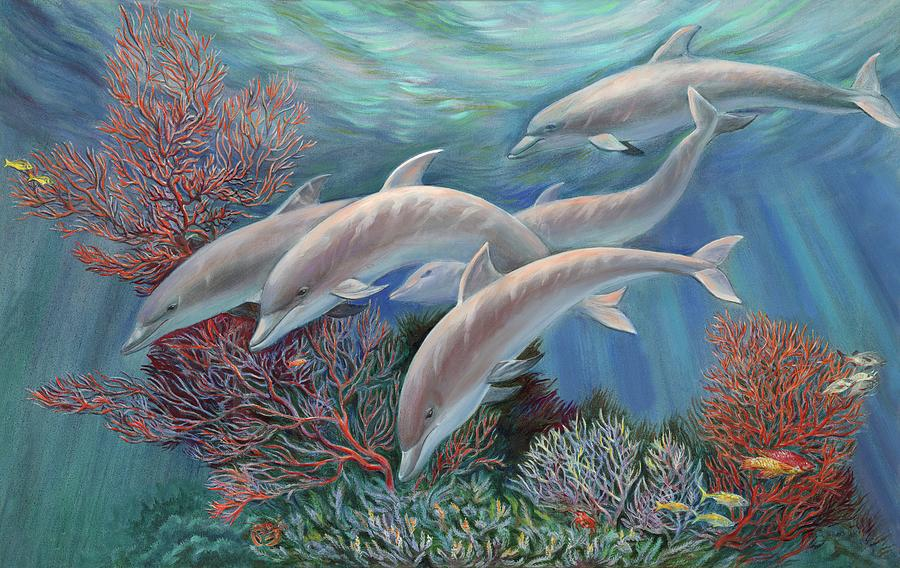 Dolphin Painting - Happy Family - Dolphins Are Awesome by Svitozar Nenyuk