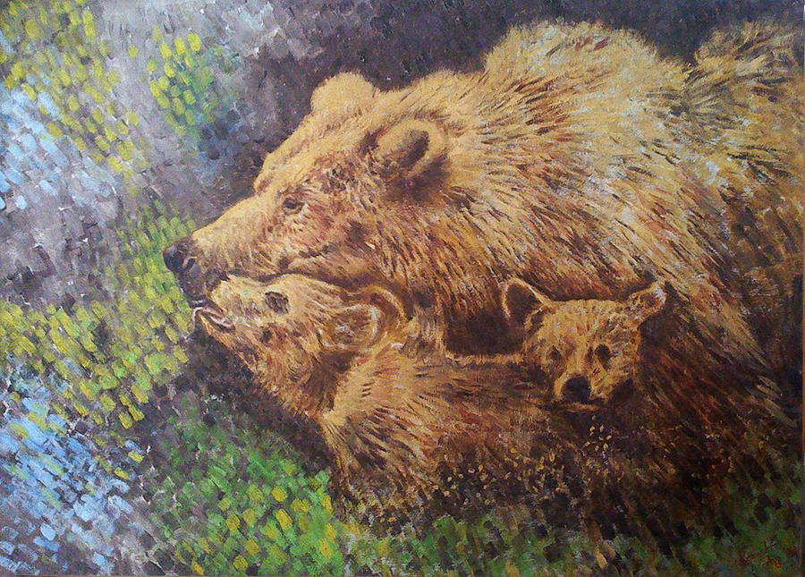 Grizzly Bear Painting - Grizzly Bear by Remy Francis