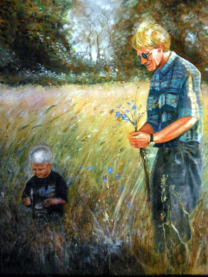 Oil Painting Painting - Happy Fathers Day by Leland Castro