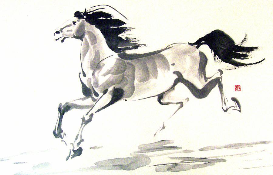 Horse Painting - Happy Feet by Rayne Van Sing