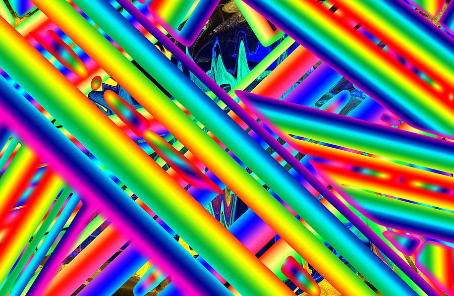 Psychadelic Digital Art - Happy Flash by Ted Shado