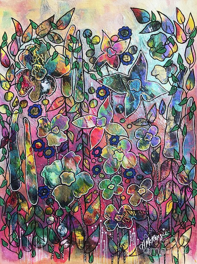 Pink Painting - Happy Garden by Heather McKenzie