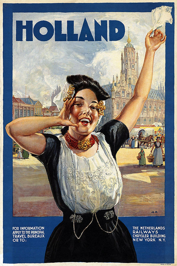 Happy Girl In Traditional Dutch Attire - Vintage Travel Poster From Holland Painting