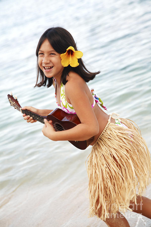 Active Photograph - Happy Girl With Ukulele by Brandon Tabiolo - Printscapes