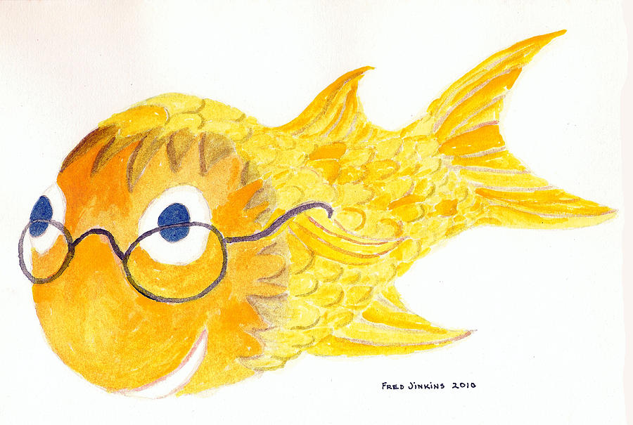 Happy Fish Print Painting - Happy Golden Fish by Fred Jinkins