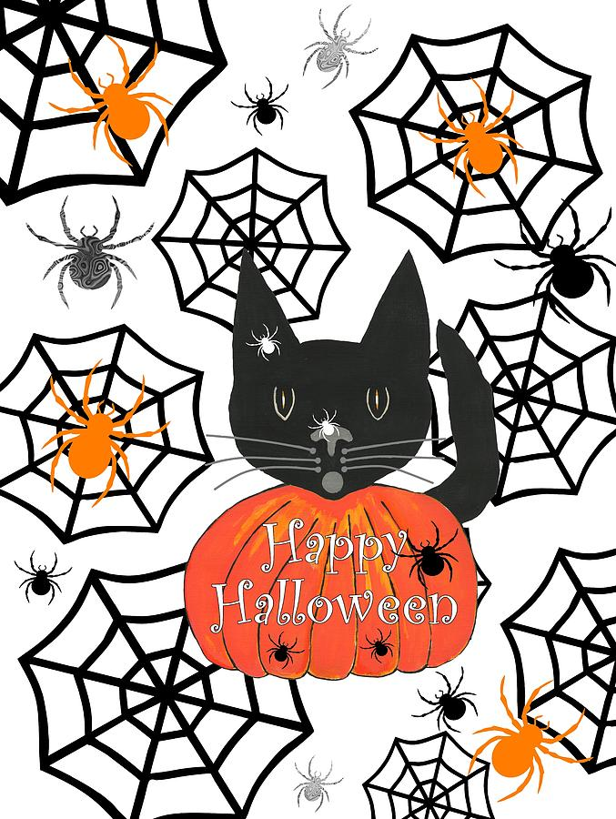 Happy Halloween Digital Art - Happy Halloween Black Cat by Kathleen Sartoris