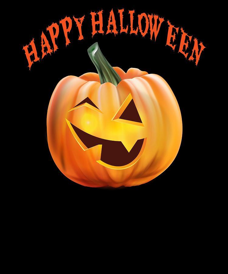 Happy Halloween Funny Jack O Lantern Pumpkin Drawing By Kanig Designs