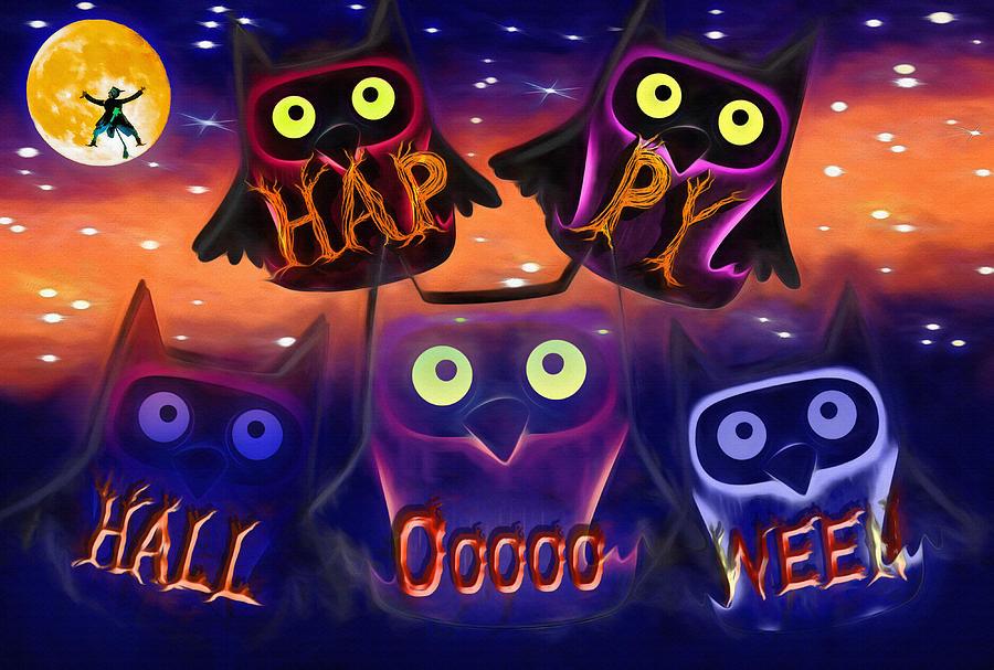 Happy Halloween Owls Mixed Media by Steve Ohlsen