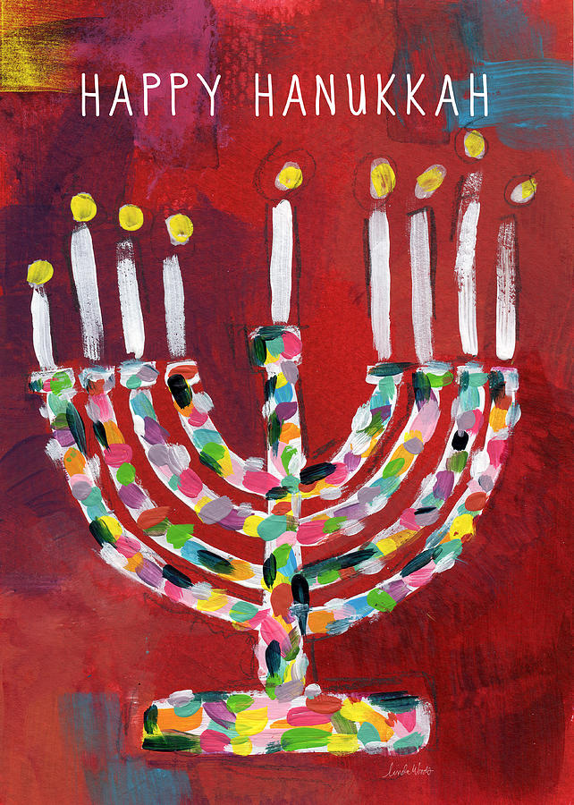 Hanukkah Painting - Happy Hanukkah Colorful Menorah Card- Art by Linda Woods by Linda Woods
