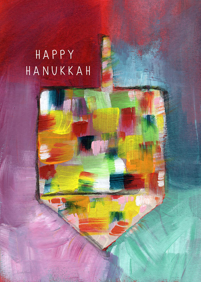 Happy Hanukkah Dreidel Of Many Colors- Art By Linda Woods Painting