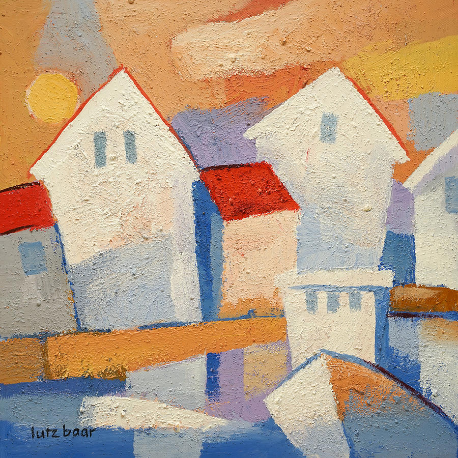 Sunny Village Painting - Happy Harbour by Lutz Baar