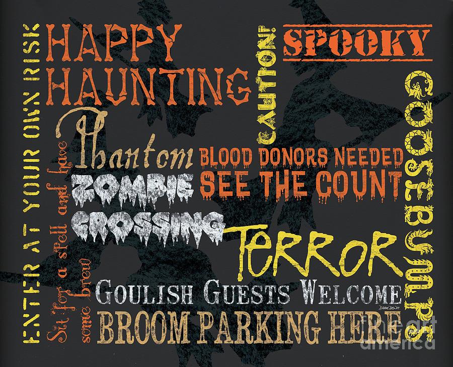 Halloween Painting - Happy Haunting Typography by Debbie DeWitt
