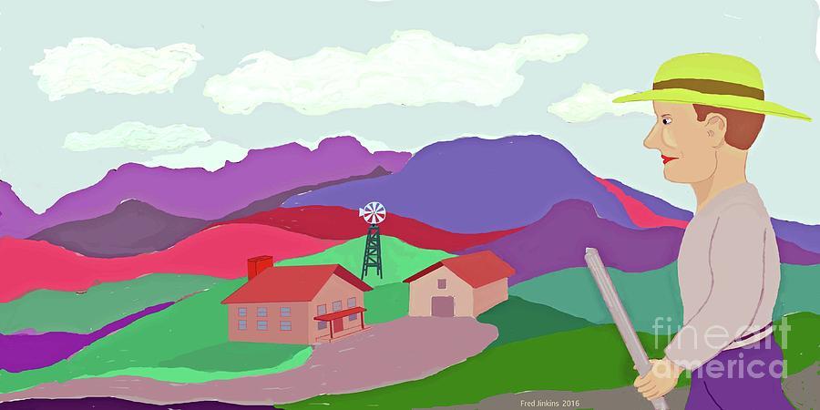 Hillside Farm Painting - Happy Highland Farm by Fred Jinkins