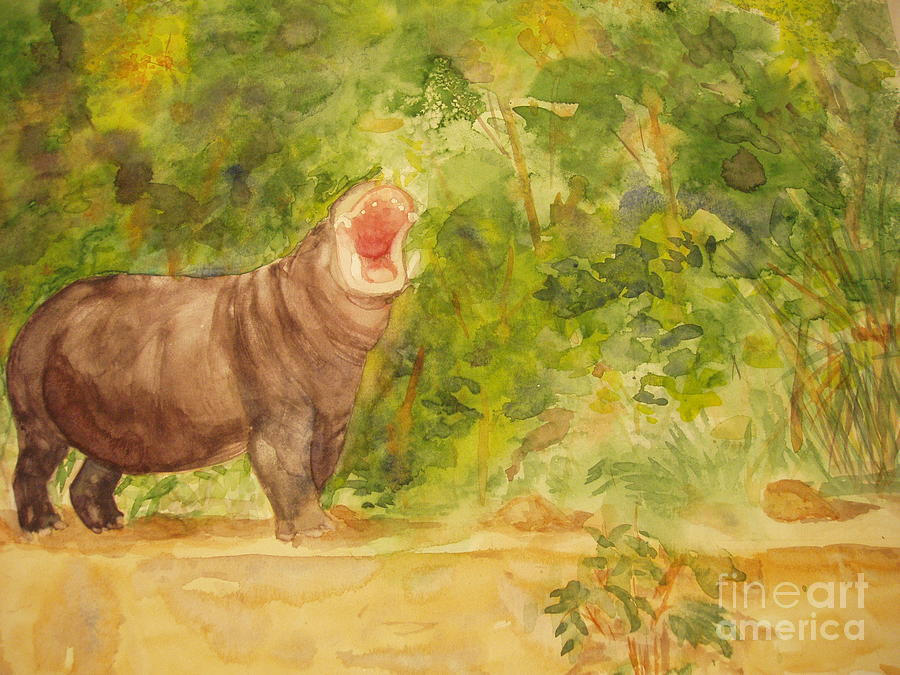 Africa Painting - Happy Hippo by Vicki  Housel