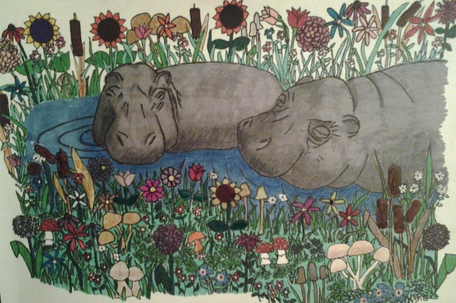 Happy Hippos Drawing by Kym Petrie Elliott