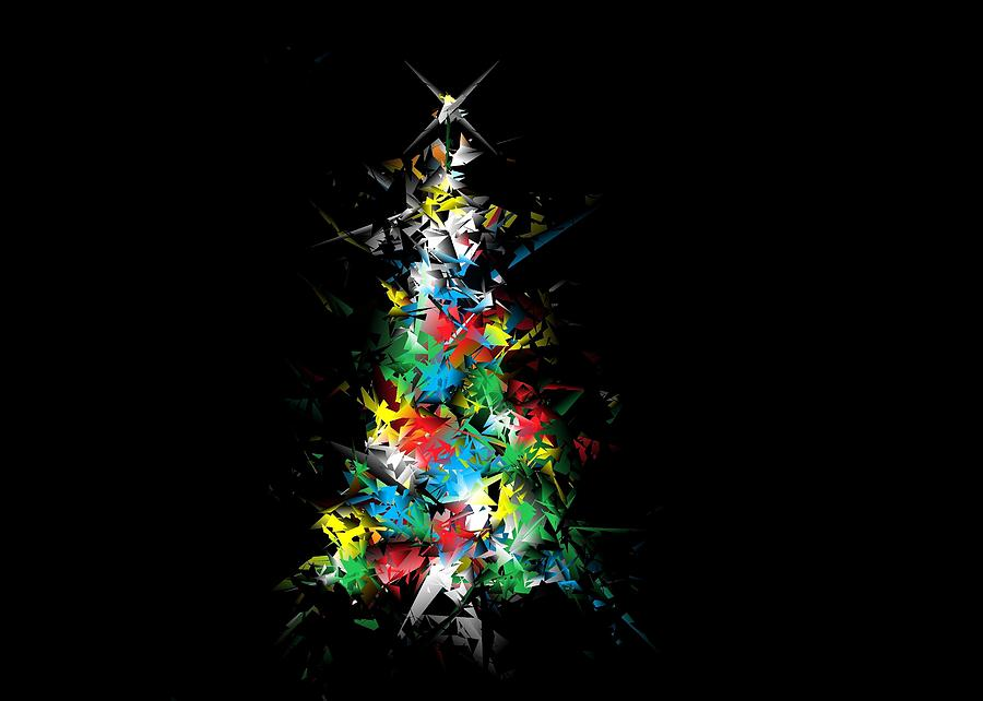 Happy Holidays - Abstract Tree - horizontal by Ludwig Keck