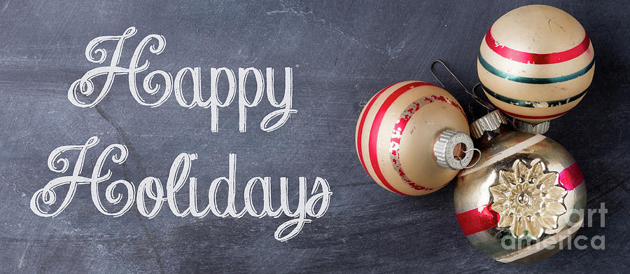 Mug Photograph - Happy Holidays Chalkboard Mug by Edward Fielding