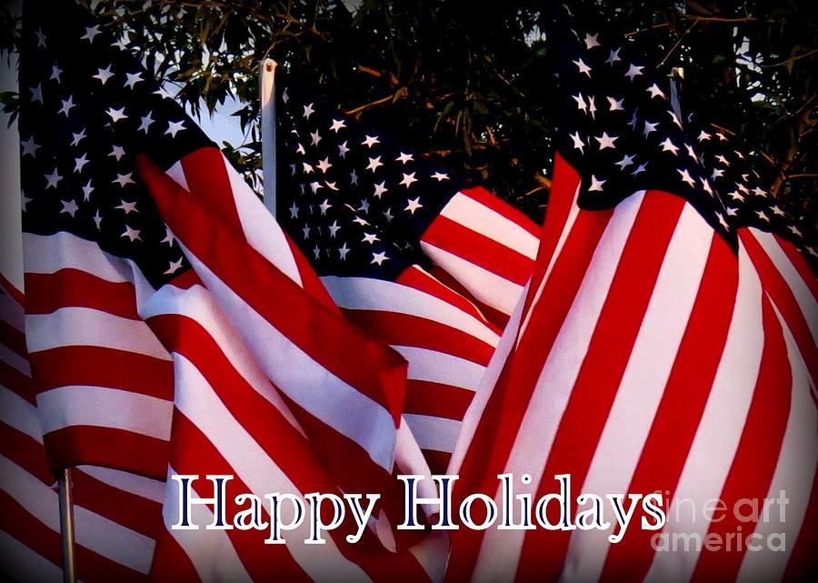 United States Of America Photograph - Happy Holidays Flag 1 by Diane M Dittus