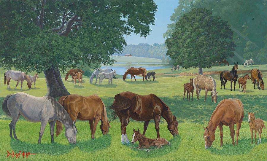 Landscape Painting - Happy Hollow Mares by Howard Dubois