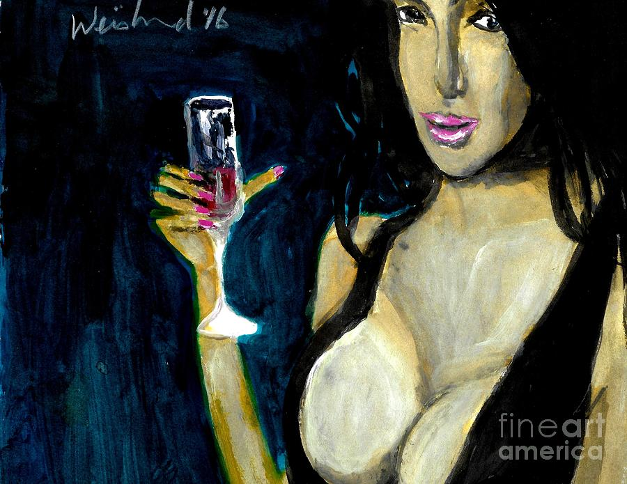 Sensual Painting - Happy Hour Glass Red Wine  by Harry WEISBURD