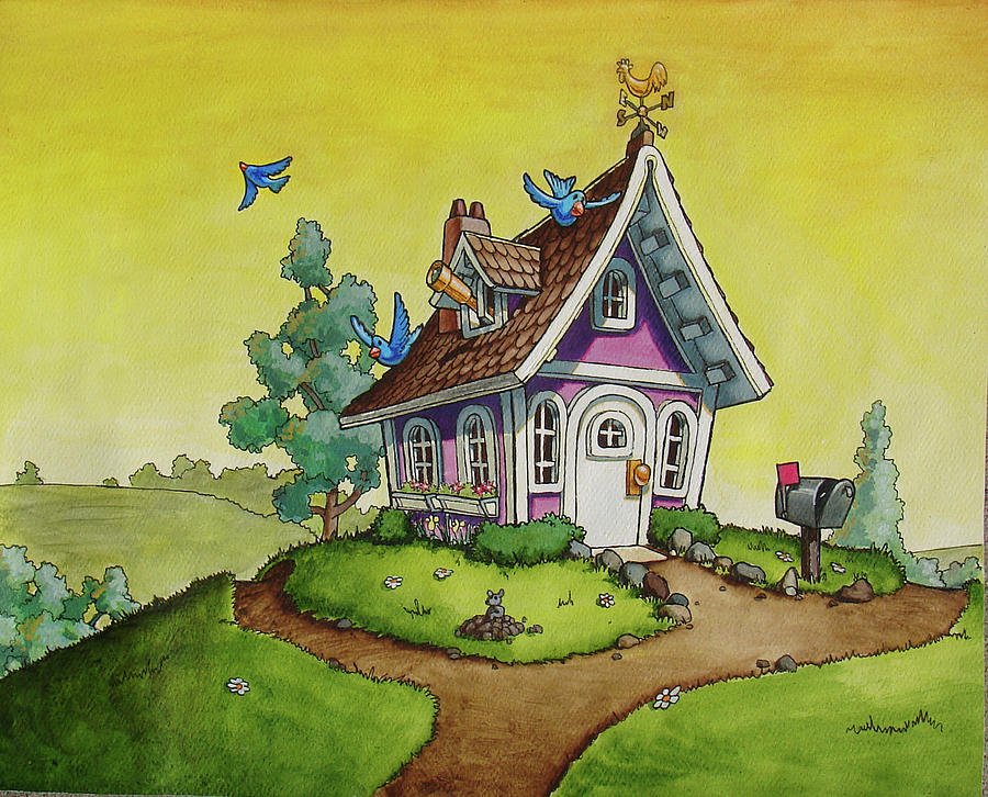 Beautiful House Painting   Happy House By Shawn Lux
