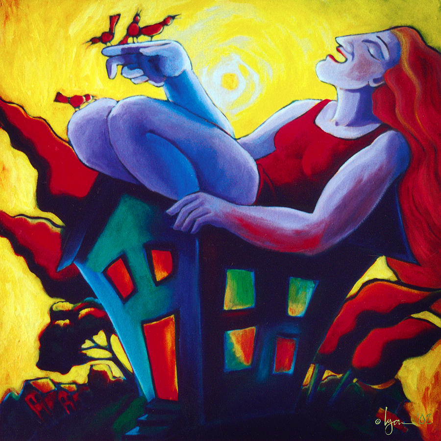 Dreams Painting - Happy In My New House by Angela Treat Lyon