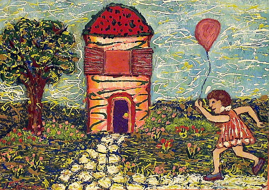 Nature Painting - Happy In The Garden by Ioulia Sotiriou