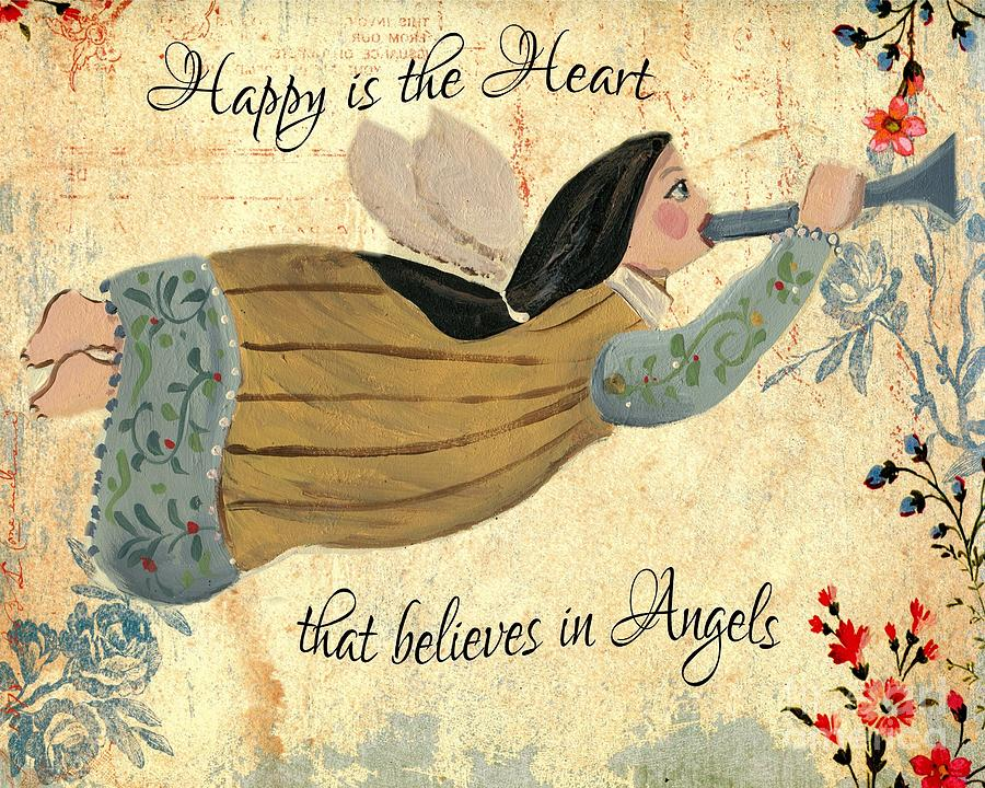 Happy Is The Heart That Believes In Angels Inspirational Wall Art ...