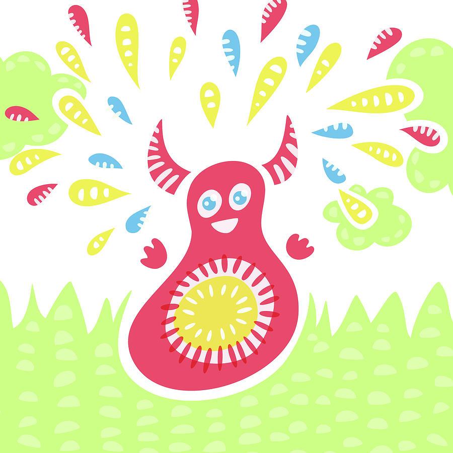 Happy Digital Art - Happy Jumping Creature by Boriana Giormova