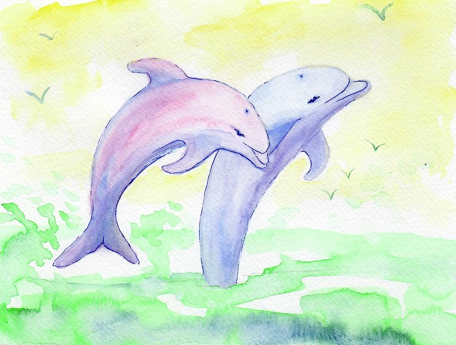 Happy Jumping Dolphins by Elizabeth Oertel