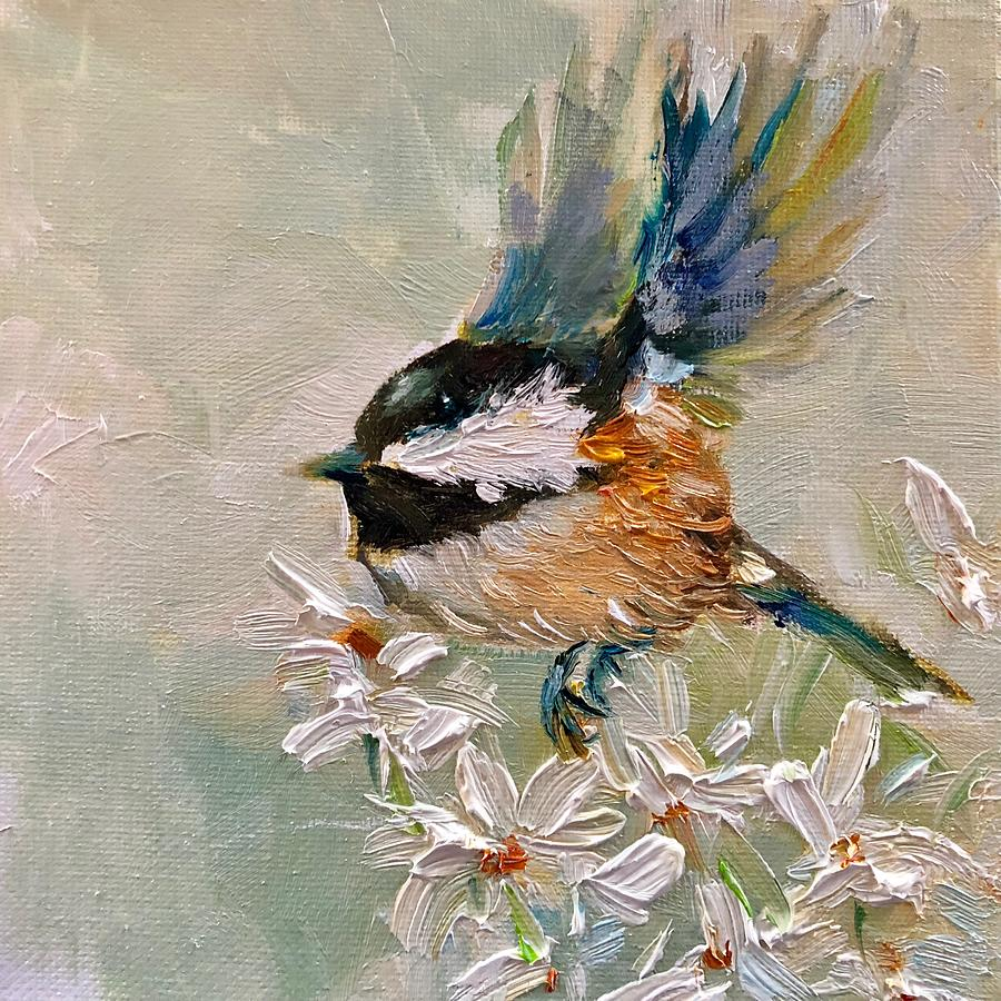 Chickadee Painting - Happy Landings by Sarah Jane Conklin
