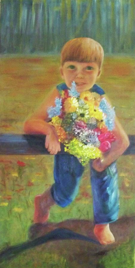 Oil Portrait Painting - Happy Mothers Day by Dana Redfern