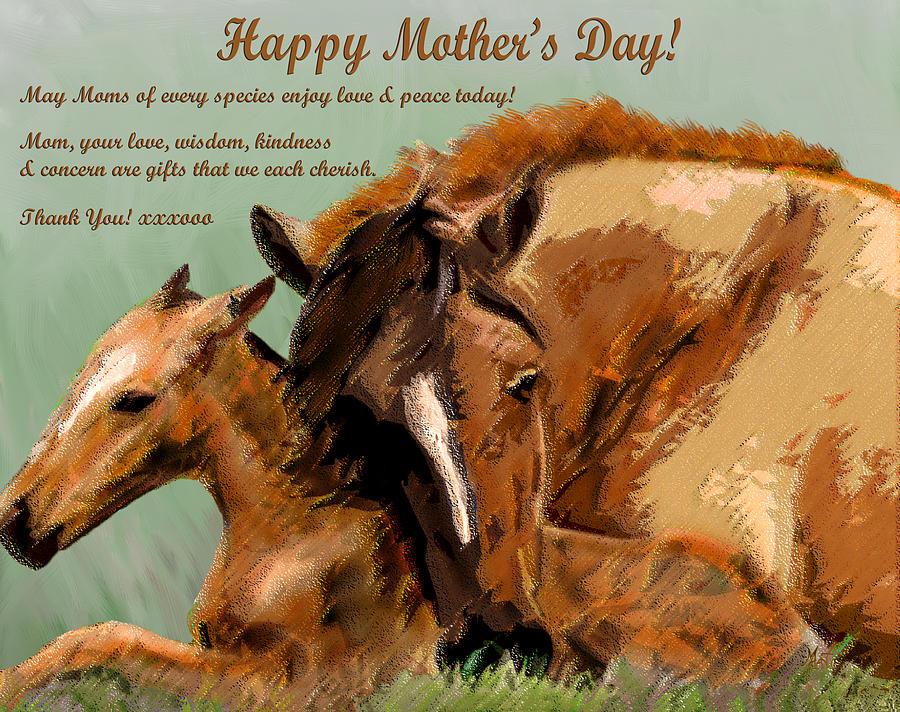Happy Mothers Day Mare And Foal Digital Art