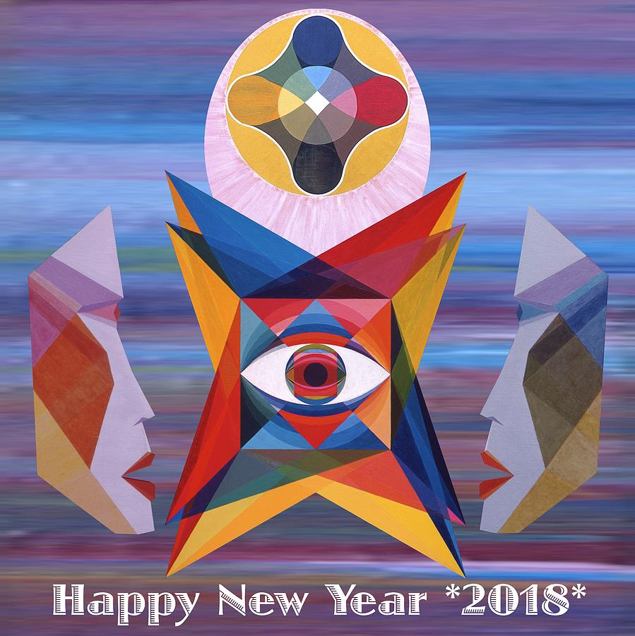 Painting Painting - Happy New Year 2018 by Michael Bellon